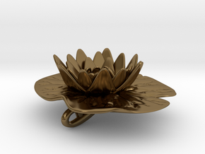 Lilypad Pendant in Polished Bronze