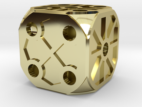 Rustic Die - Large in 18k Gold Plated Brass