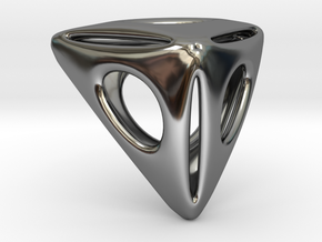 Triangle Pendant in Fine Detail Polished Silver