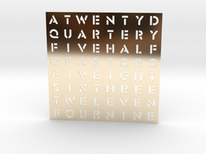 Timesquare Wordclock faceplate (Stencil font) in 14K Yellow Gold