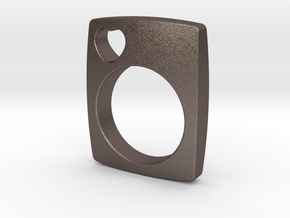 The Love Ring in Polished Bronzed Silver Steel
