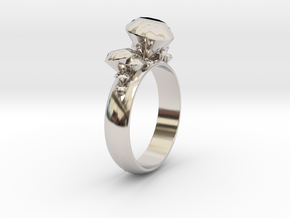 Ring 'Diamonds are Forever' in Rhodium Plated Brass