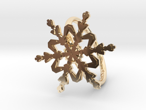 Snowflake Ring 2 d=19mm h21d19 in 14k Gold Plated Brass