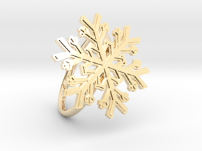 Snowflake Ring 1 d=19mm h21d19 in 14k Gold Plated Brass