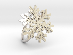 Snowflake Ring 1 d=19mm h21d19 in Rhodium Plated Brass