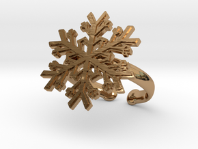 Snowflake Ring 1 d=19.5mm Adjustable h35d195a in Polished Brass