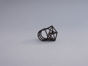 Space Ring: Triangle in Black Natural Versatile Plastic