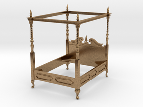 1:48 Four Poster Canopy Bed in Natural Brass