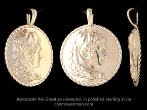 Alexander the Great coin pendant in Polished Silver