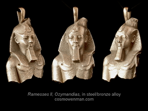 Steel Ramesses II, Ozymandias pendant in Polished Bronzed Silver Steel