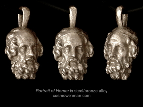 Steel Portrait of the Blind Homer pendant in Polished Bronzed Silver Steel