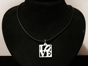 LOVE Pendant ROBERT INDIANA (Thicker Version) in White Strong & Flexible Polished