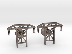 Power Tower Cufflinks in Polished Bronzed Silver Steel