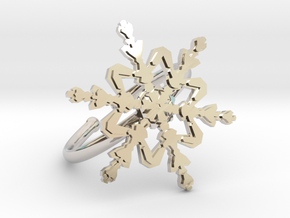Snowflake Ring 2 d=19.5mm Adjustable h21d195a in Rhodium Plated Brass