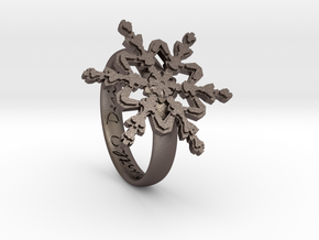 Snowflake Ring 2 d=16.5mm h35d165 in Polished Bronzed Silver Steel
