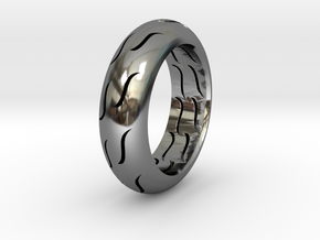 TIRE RING in Fine Detail Polished Silver