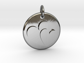 Two hearts pendant in Fine Detail Polished Silver