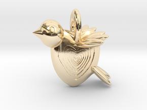 Valentine Bird in 14k Gold Plated Brass