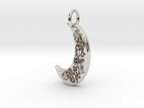 Floral moon  in Rhodium Plated Brass