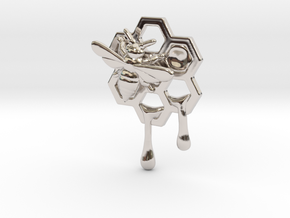 Honey Comb Charm Version 2 in Rhodium Plated Brass
