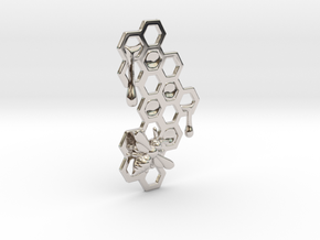 Honey Comb Charm in Rhodium Plated Brass