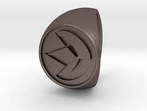 Custom Signet Ring 19 in Polished Bronzed Silver Steel