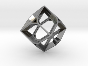 Truncated Octahedron in Fine Detail Polished Silver