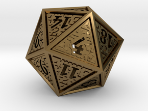 Hedron D20 (Hollow), balanced gaming die in Polished Bronze