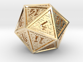 Hedron D20 (Hollow), balanced gaming die in 14k Gold Plated Brass