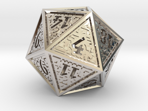 Hedron D20 (Hollow), balanced gaming die in Rhodium Plated Brass