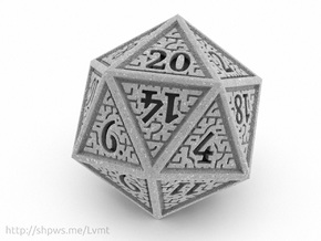Hedron D20 (Solid), balanced gaming die in Polished Metallic Plastic
