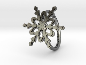 Snowflake Ring 2 d=16.5mm h21d165 in Fine Detail Polished Silver