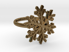 Snowflake Ring 1 d=16.5mm h21d165 in Polished Bronze