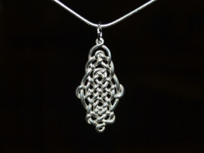 Raindrop Celtic Knot Pendant 20mm in Polished Silver