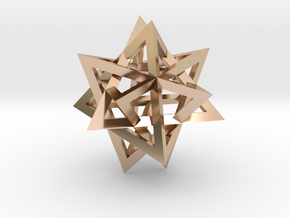 Tetrahedron 4 compound earring in 14k Rose Gold Plated Brass