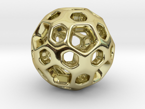 HONEYBOMB SMOOTH Charm in 18k Gold Plated Brass