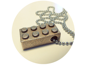Lego Pendant in Polished Bronzed Silver Steel