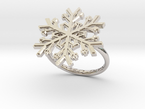 Snowflake Ring 1 d=17.5mm h21d175 in Rhodium Plated Brass