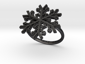 Snowflake Ring 1 d=17.5mm h21d175 in Polished and Bronzed Black Steel