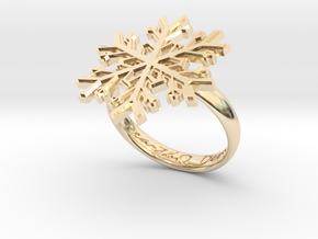 Snowflake Ring 1 d=18.5mm h35d185 in 14K Yellow Gold