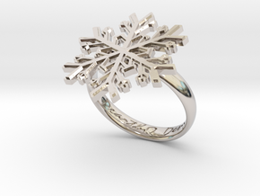 Snowflake Ring 1 d=18.5mm h35d185 in Rhodium Plated Brass