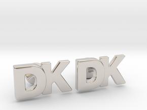 Monogram Cufflinks DK in Rhodium Plated Brass