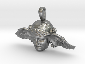 Hypnos, god of sleep, pendant (restored wing) in Natural Silver