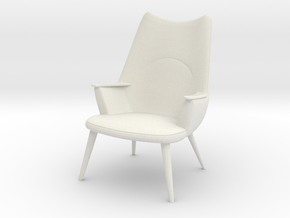 1:24 Wegner Lounge Chair Model AP27 in White Natural Versatile Plastic
