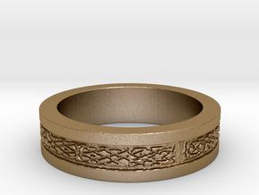 Celtic Knot Band in Polished Gold Steel: 7 / 54
