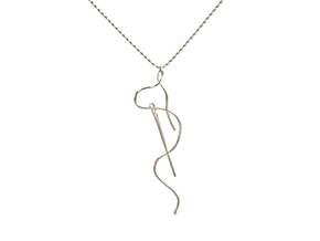 Needle And Thread Pendant in Rhodium Plated Brass