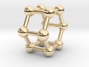 0423 Hexagonal Prism (a=1cm) #003 in 14k Gold Plated Brass
