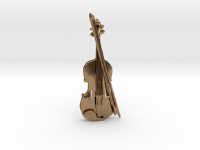 Violin and Bow Pendant in Natural Brass