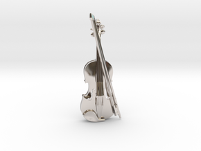 Violin and Bow Pendant in Rhodium Plated Brass