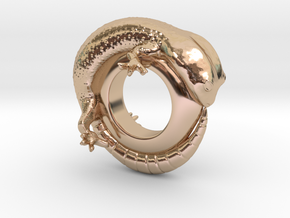 Gecko Ring Size 6 in 14k Rose Gold Plated Brass